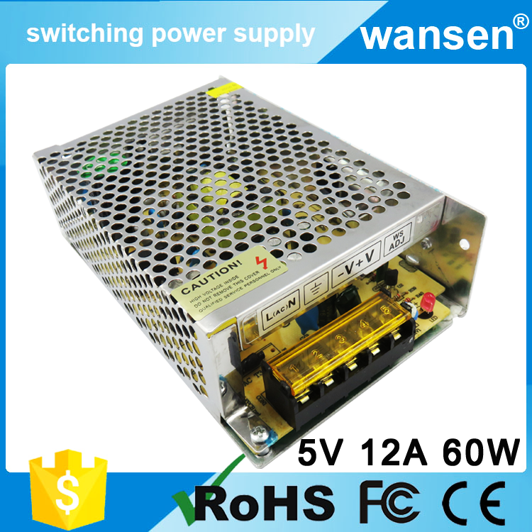 AC-DC LED power supply S-60-5 CE approved 60w 12a 220vac to 5vdc converter single output switching power supply