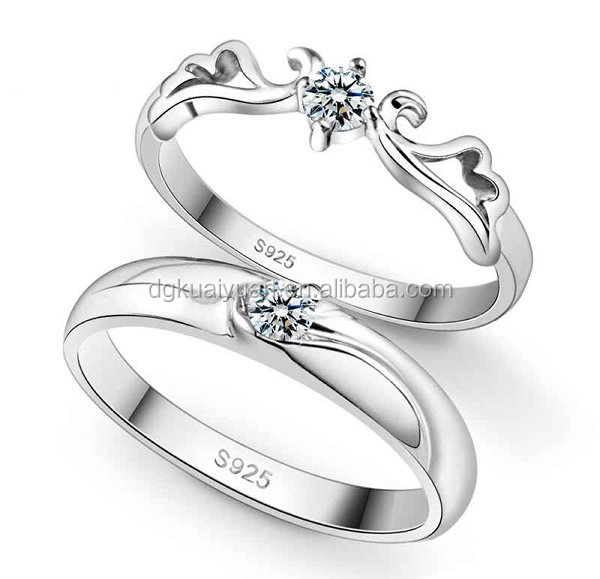 Different types 925 sterling silver king and queen couple ring