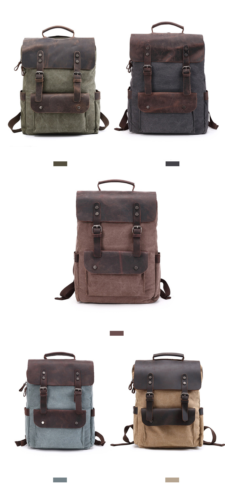 Retro 16Oz Washed Canvas Design Daily Use Durable Crazy Horse Leather Backpack Rucksack Back Pack Bag