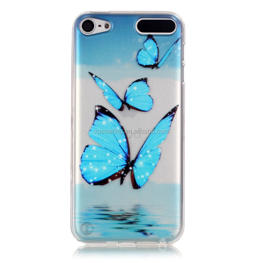 Clear tpu cover case for iPod Touch 5, for iPod touch 5 flower case, for iPod touch 6 fashion case