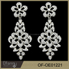 Fashion High Quality Jewelry Silver Plated Indian Crystal Earrings Big Bridal Drop Earring