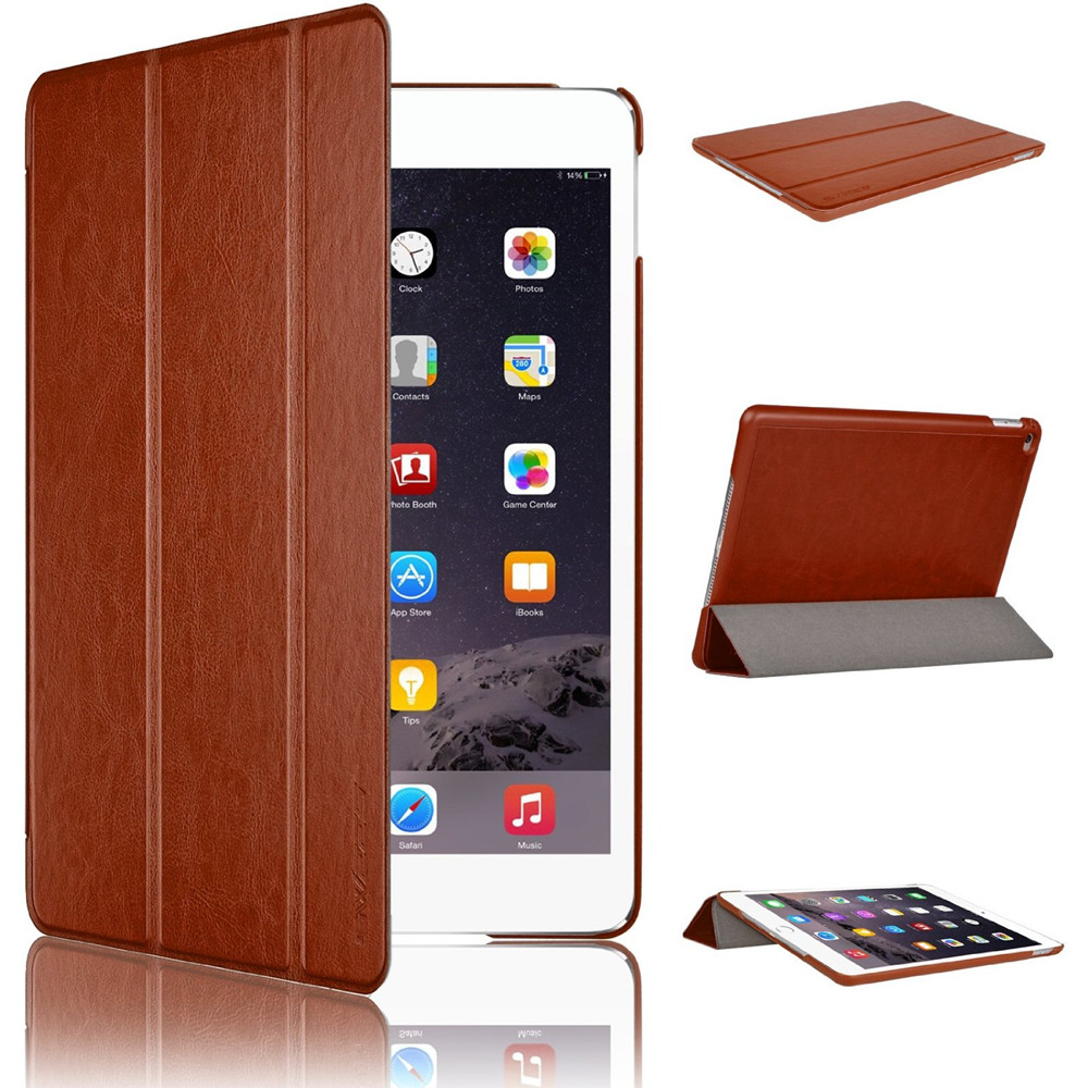 Case with Brown color cover for iPad Air 2 PU Leather material with Magnetic Auto Wake & Sleep Function
