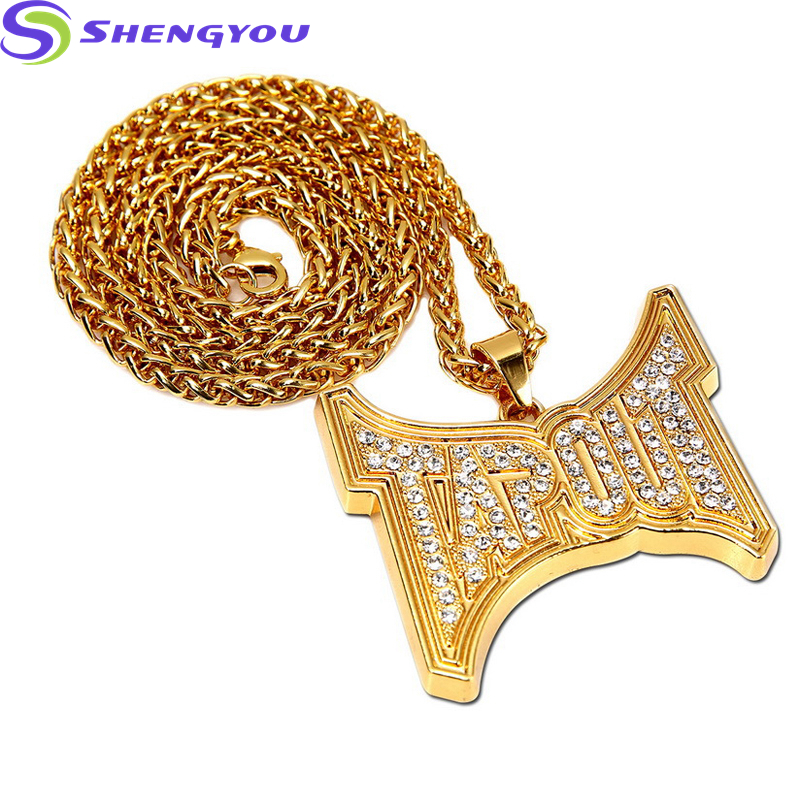 Hip HopJewelry Rock Style Gold Chain Plated TAPOUT Letters Pendant Necklace