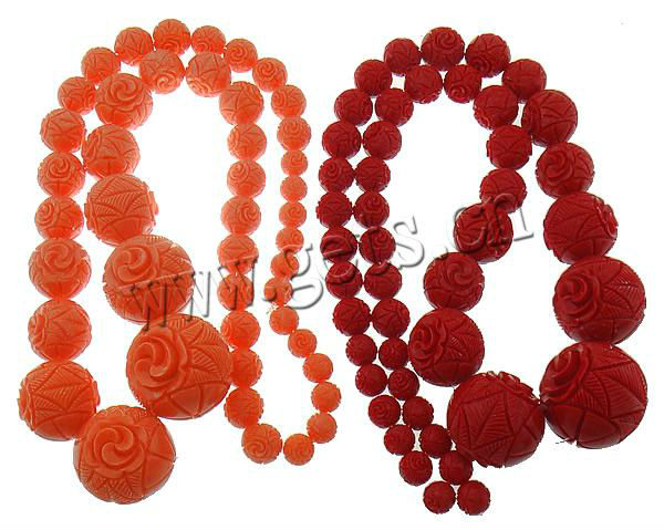 fashion carved round shape synthetic coral necklace