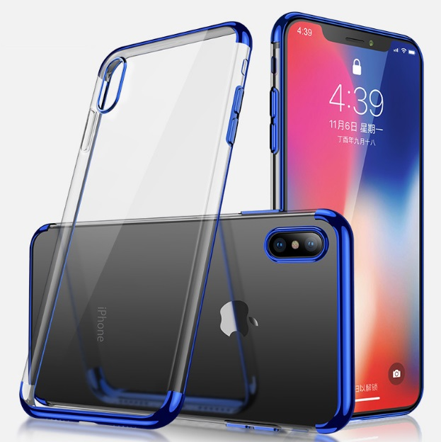 For iphone X electroplating clear tpu phone case three edge contrast color mobile phone back cover for iphone X