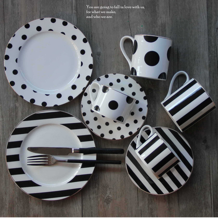 OXGIFT bone china Western Flat Plate Coffee Cup Set Creative Nordic Polka dots Striped Afternoon Tea Dinner Set