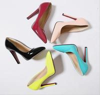 2015 candy colore party shoes Women High heels pointed Toe shoes large size OL High heels