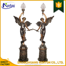 Life szie beautiful angel bronze torchere sculpture for home NT-BS325K