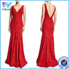 New Fashion Apparel Sexy Red Lace Patchwork Women Deep V Neck Long Party Red Evening Free Prom Dress