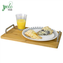 Multipurpose bamboo serving Platter tray with Stainless Steel Handles