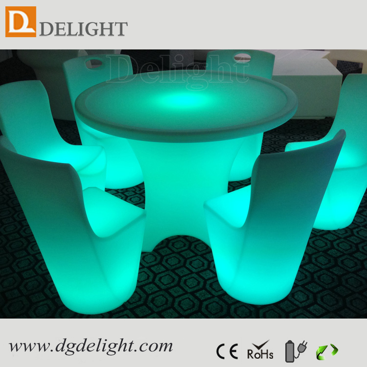 Top sale waterproof illuminated RGB remote control restaurant dining tables and chairs