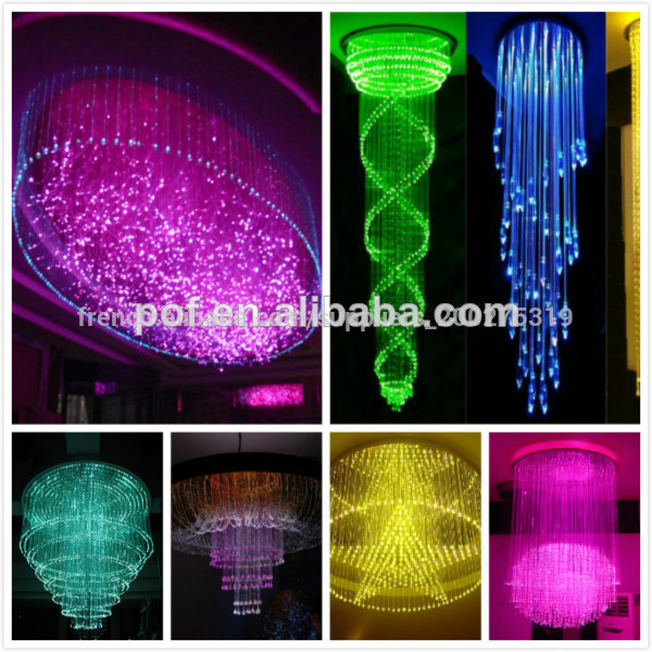 Plastique optial led moderne du lustre en fibre optique lumi re multicolore d coration lustre - Lustre en gobelet plastique ...