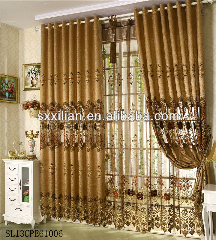 luxury Embroidery curtain with voile window/living room curtain