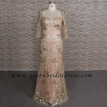 Generous short sleeves sweetheart neckline gold lace waist belt mother of dress