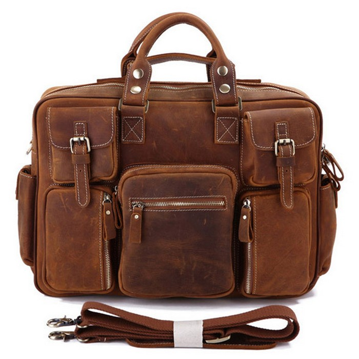 Custom Vintage leisure crazy horse leather men shoulder bag sling messenger bag