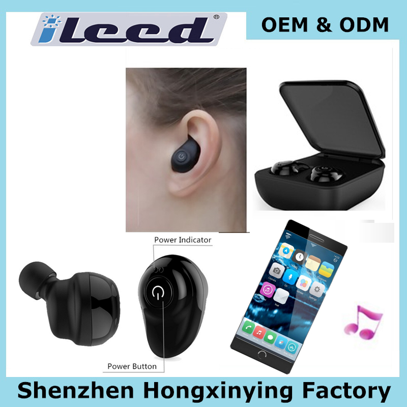 wholesale headset silent oem parts with SD card 2000mah power bank for iphone 7 wirless mini bluetooth earphone
