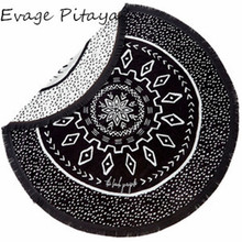 white and black fight color cotton bohemian style round Yoga Mat wholesale plain beach towels