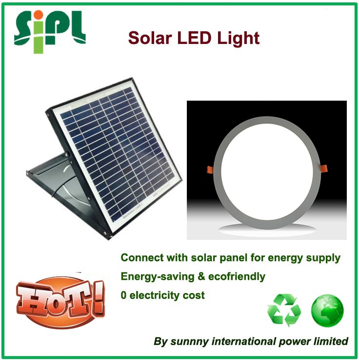 vent tool solar ceiling lamp solar led light skylight 15 watt solar panel directly powered LED downlight in round shape