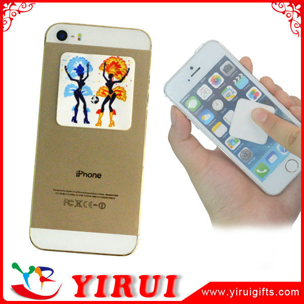 custom fashionable sticky mobile phone screen cleaner qr code pad
