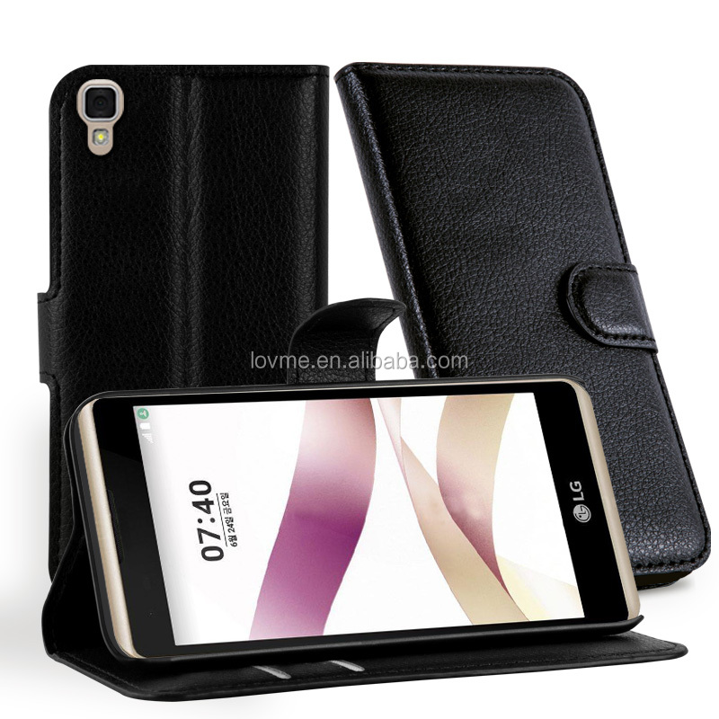 Wholesale Lichee Magnetic Wallet PU Leather Case Tpu Or PC inside Cover For Lg X Skin