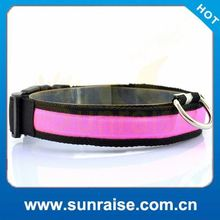 Cheap Wholesale weaving single optical led flashing cat&dog collar
