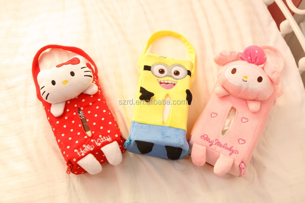 customized beautiful cartoon animal plush doll/Plush animal tissue box toy with car/cheap price plush box