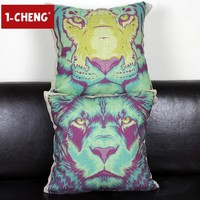 Fashion Colored Painting Animals Design Cushion Cover Body Pillow Chair Seat Cushion Home Sofa Decorative Pillow Case