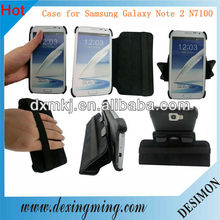 360 rotate black pu case for samsung galaxy note 2 n7100