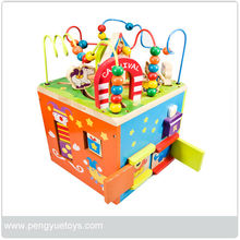 Children's Favourite Learning Toy Wooden Deluxe Bead Maze Cube for child