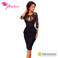 2016 Wholesale Embroidery Black Women shiny Peplum Dress