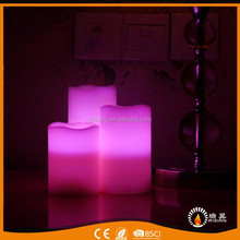 Home decoration 3pcs/set real wax LED candle with colorful remote control