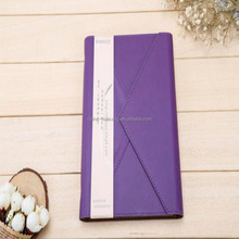 2017 best selling Guangzhou Factory Custom Printed envelope design purple Leather notebook with pen