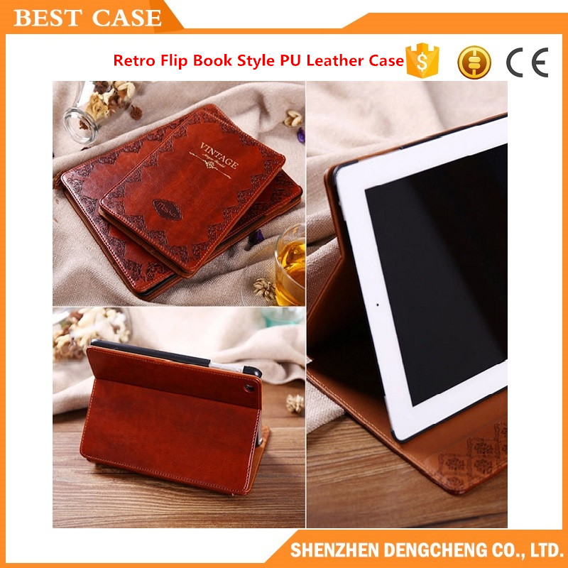 Luxury Retro Flip Book Style PU Leather Case Magnetic Stand Smart Cover For iPad Air 2/Mini 1/2/3 Cover Case