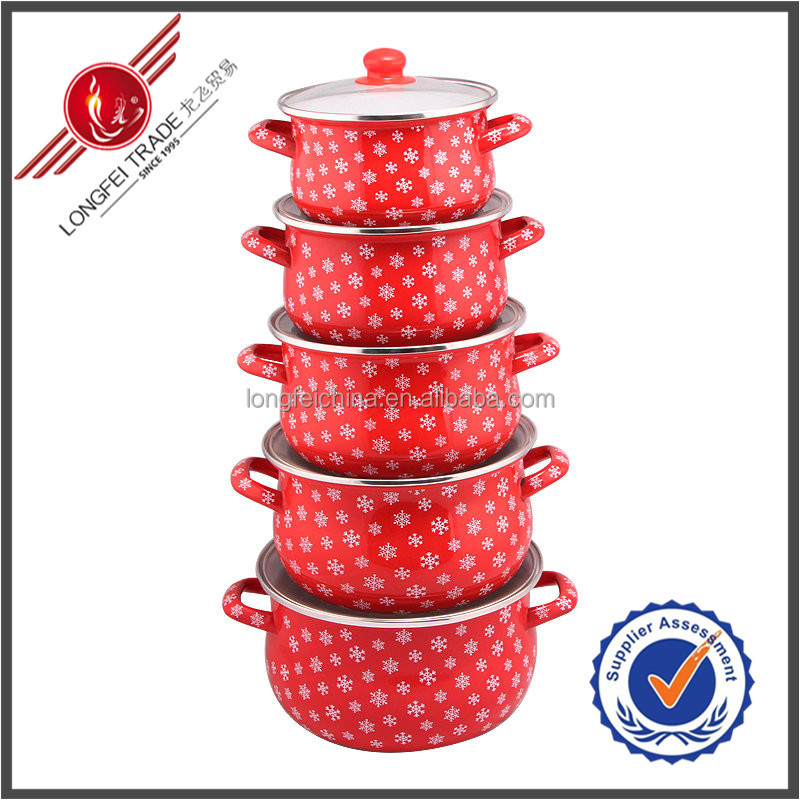 Red Enamel Paint For Cookware With Glass Cover Porcelain Enamel Cast Iron Cookware Sets