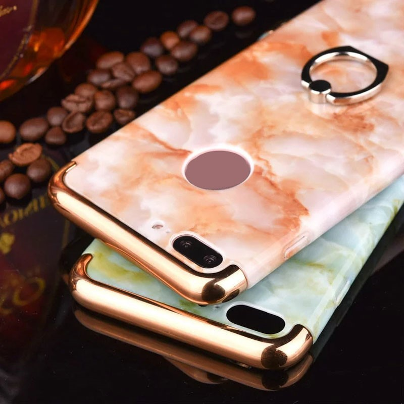 Safety Cover for Mobile Phone Marble Style Ring Stand Hard Plastic Phone Case 3 in 1 Design Case for iPhone 7 7 Plus