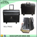 Black Travel Trolley Briefcase Lerther Bag