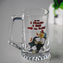 Customized Logo Printed Beer Glass Cup/beer glass with handle