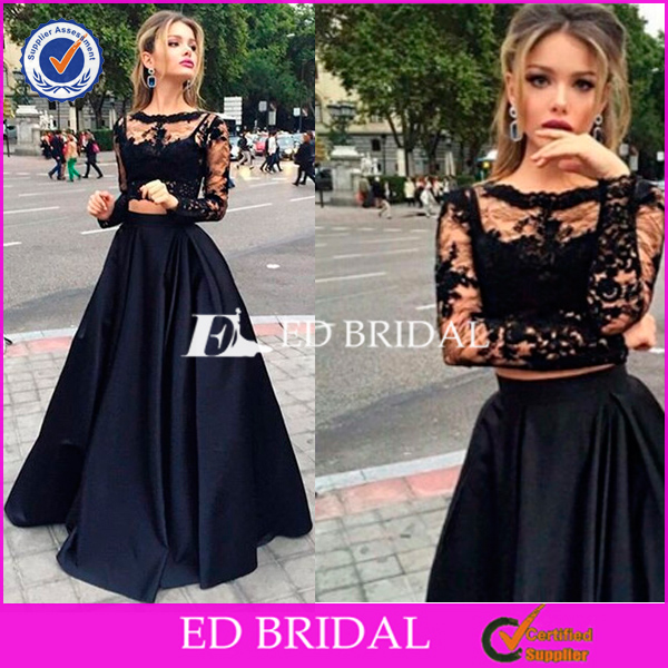 Black Two-Piece Prom Dresses 2016 Long Sleeves Puffy Skirt Sexy A-line Evening Gowns