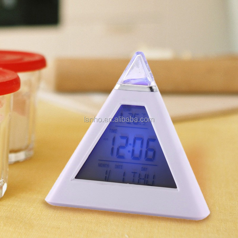 New 7 LED Color Pyramid Digital LCD Alarm Clock Thermometer