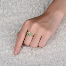 14K Yellow Gold Ring Designs For Boys Green Tsavorite With Diamond 03TS-WU144