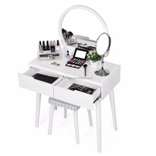 Dressing Table Set Mirror Stool Bedroom Desk Girls Make Up Dresser