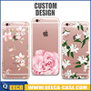 Fancy design transparent clear TPU soft rubber phone case for iphone cover flower design