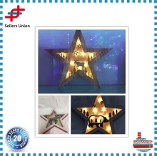 Wooden Star Shaped Led Light Christmas /wooden christmas star decoration/lighted hanging wooden star