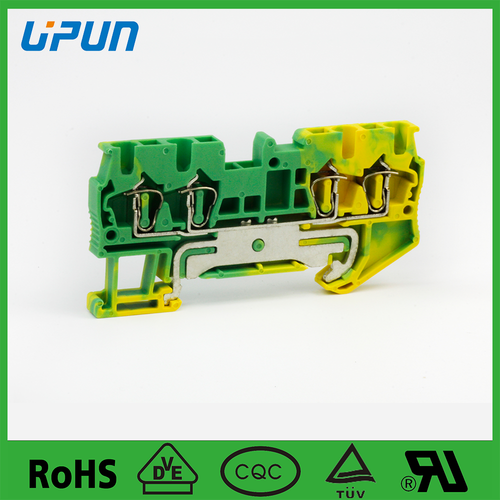 low voltage terminal block UJ5-2.5/2X2JD Spring Cage clamping terminal block end plate connector