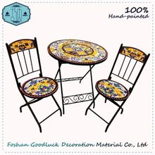 Cast Iron Multicolor Mosaic Top Dining Outdoor Garden Table