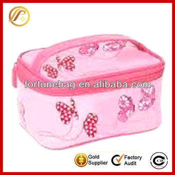 Fashion 600D kids cosmetic bag with butterfly