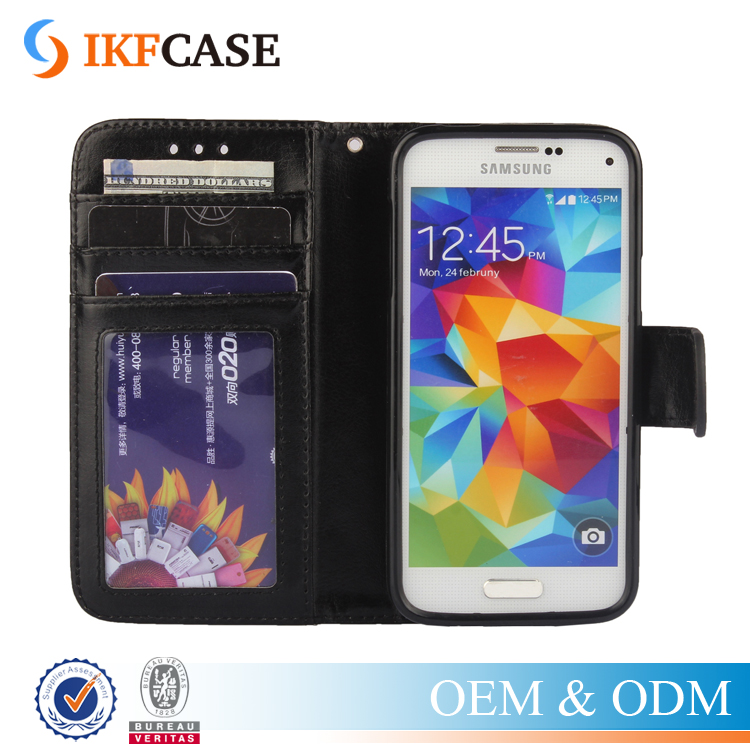 Retro Luxury Crazy Horse Flip Cover Silicone PU Leather Phone Case For Samsung Galaxy S5 Mini