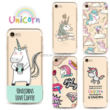 LOW MOQ Wholesale Ultra-thin Cute Cartoon Unicorn TPU Silicon Phone Cases for Iphone x 8 8lus 7 7plus 6 6s 6plus 5c 5 5s