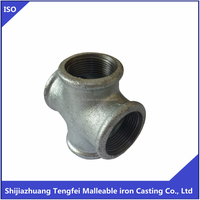 Galvainzed iron cross 180 , malleable iron pipe fitting