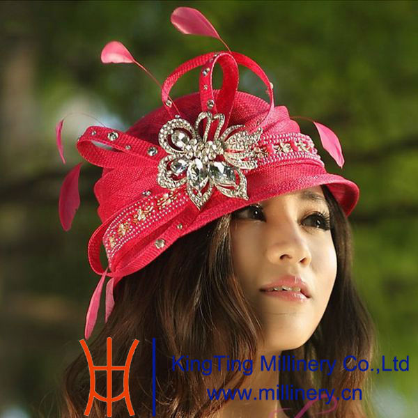 Comfortable Red Abaca Church Ladies Sinamay Hat With Adjustable Sweatband